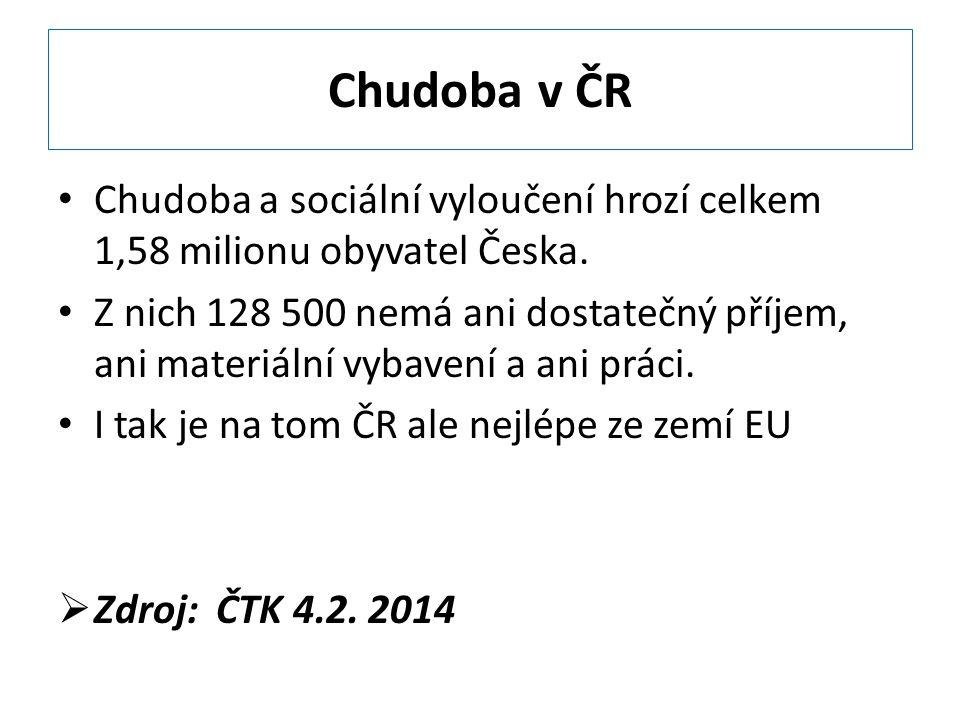 Chudoba v ČR Chudoba a sociální vyloučení hrozí celkem 1,58 milionu obyvatel Česka. Z nich 128 500 nemá ani dostatečný příjem, ani materiální vybavení