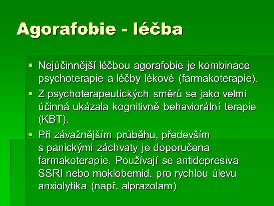 Agorafobie - léčba  Nejúčinnější léčbou agorafobie je kombinace psychoterapie a léčby lékové (farmakoterapie).  Z psychoterapeutických směrů se jako