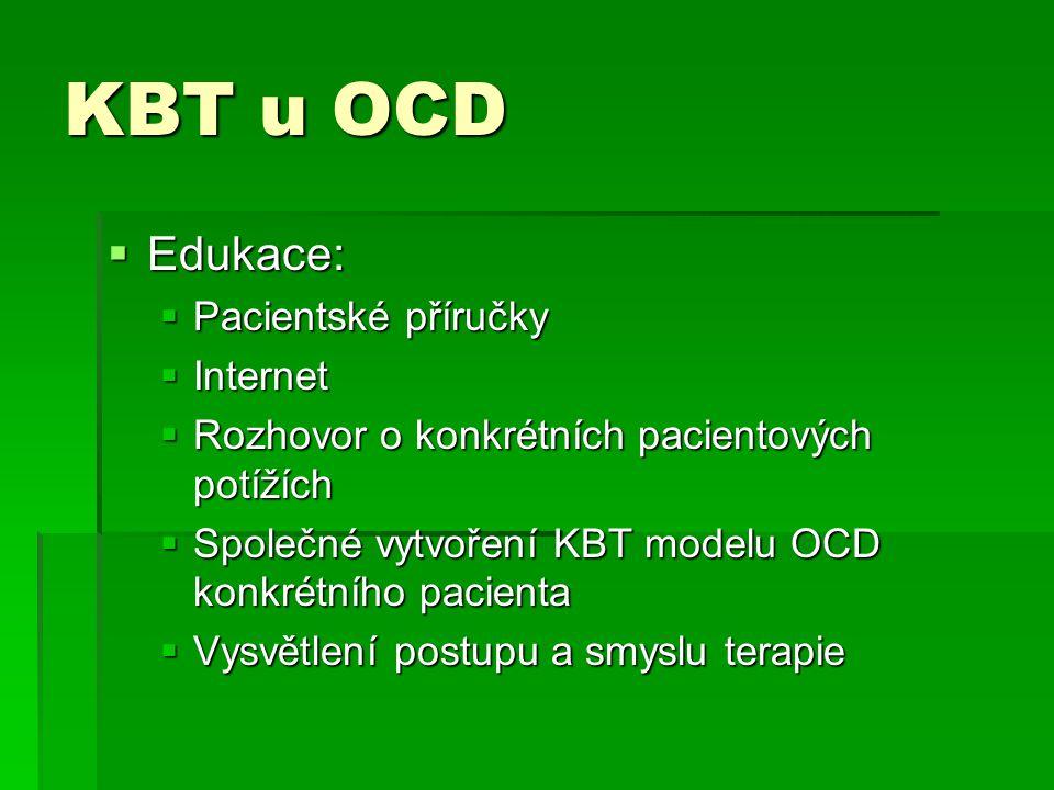 KBT u OCD  Edukace:  Pacientské příručky  Internet  Rozhovor o konkrétních pacientových potížích  Společné vytvoření KBT modelu OCD konkrétního p