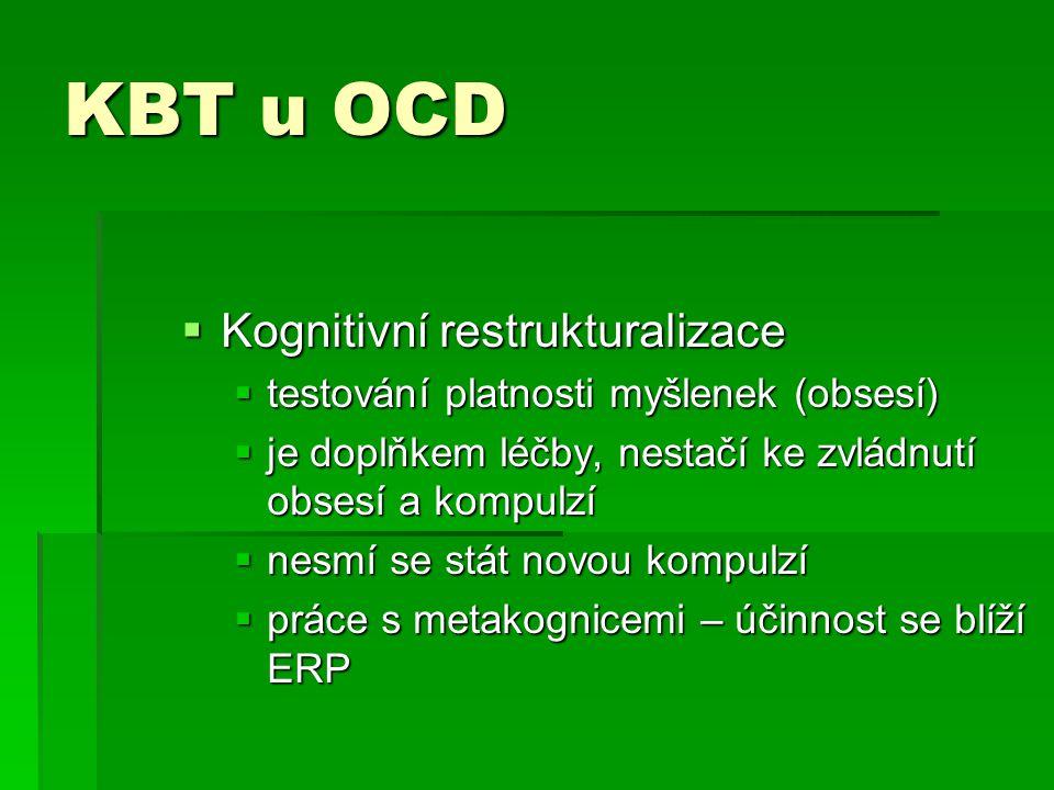 KBT u OCD  Kognitivní restrukturalizace  testování platnosti myšlenek (obsesí)  je doplňkem léčby, nestačí ke zvládnutí obsesí a kompulzí  nesmí s