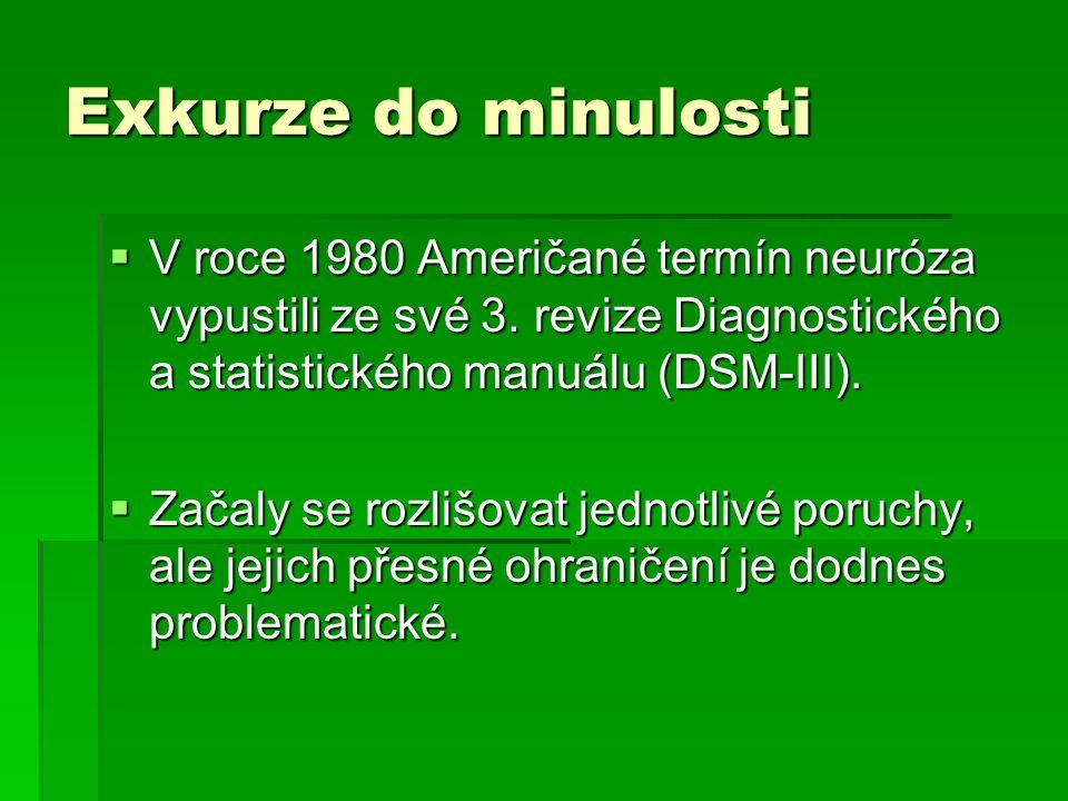 Exkurze do minulosti  V roce 1980 Američané termín neuróza vypustili ze své 3. revize Diagnostického a statistického manuálu (DSM-III).  Začaly se r