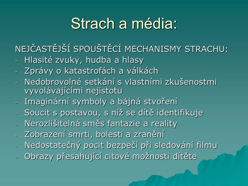 Strach a média: NEJČASTĚJŠÍ SPOUŠTĚCÍ MECHANISMY STRACHU: - Hlasité zvuky, hudba a hlasy - Zprávy o katastrofách a válkách - Nedobrovolné setkání s vl