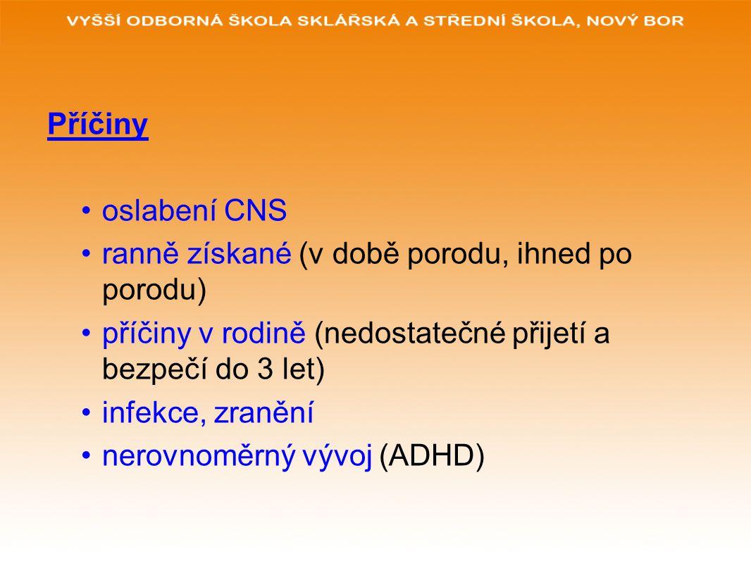 Příčiny oslabení CNS ranně získané (v době porodu, ihned po porodu) příčiny v rodině (nedostatečné přijetí a bezpečí do 3 let) infekce, zranění nerovnoměrný vývoj (ADHD)