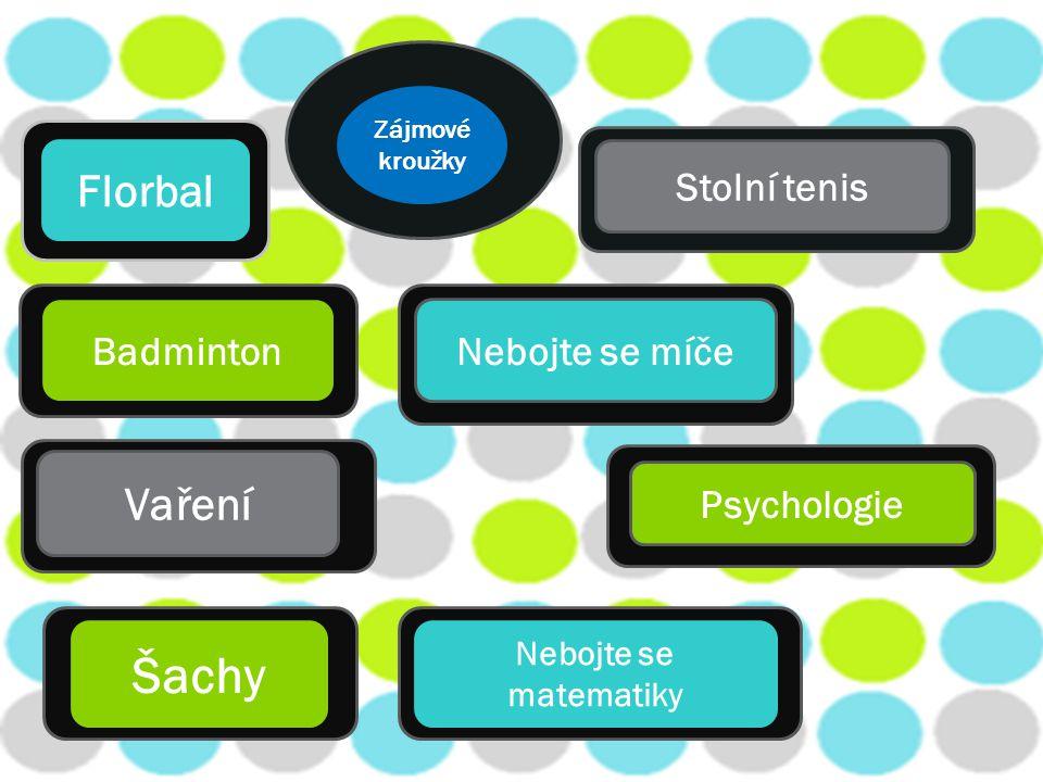 Florbal Badminton Stolní tenis Nebojte se míče Vaření Šachy Psychologie Nebojte se matematiky Zájmové kroužky