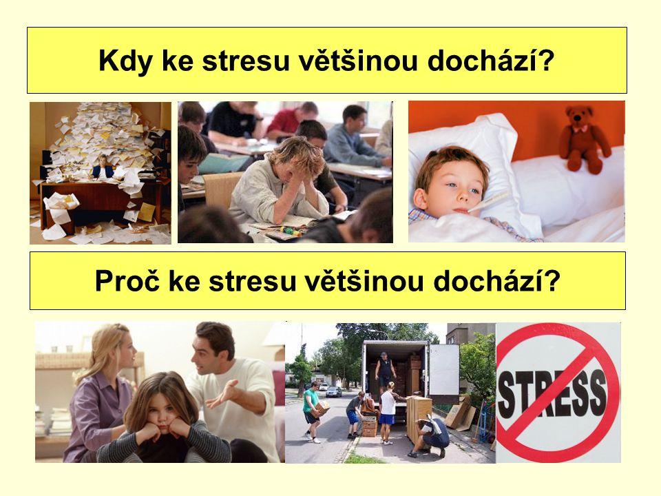 Stresory jsou: světlo, hluk, teplota zodpovědnost práce nebo škola (zkoušky, termíny úkolů) frustrace, nesplněná očekávání, věk osobní vztahy (konflikt, zklamání, týrání) životní styl (poruchy spánku) události (úmrtí, znásilnění, válka, setkání, sňatek, rozvod, stěhování, onemocnění, ztráta zaměstnání) Co jsou to stresory?