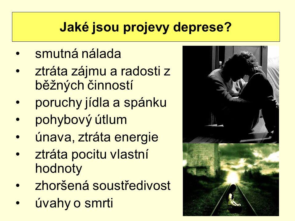 smutná nálada ztráta zájmu a radosti z běžných činností poruchy jídla a spánku pohybový útlum únava, ztráta energie ztráta pocitu vlastní hodnoty zhoršená soustředivost úvahy o smrti Jaké jsou projevy deprese