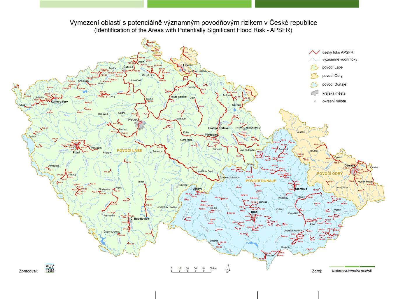 Navržené úseky toků definující oblasti s významným povodňovým rizikem, cca 3 000 km
