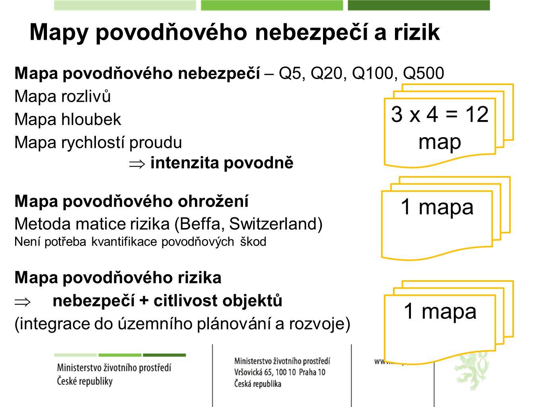 Mapy povodňového nebezpečí a rizik Mapa povodňového nebezpečí – Q5, Q20, Q100, Q500 Mapa rozlivů Mapa hloubek Mapa rychlostí proudu  intenzita povodně Mapa povodňového ohrožení Metoda matice rizika (Beffa, Switzerland) Není potřeba kvantifikace povodňových škod Mapa povodňového rizika  nebezpečí + citlivost objektů (integrace do územního plánování a rozvoje) 3 x 4 = 12 map 1 mapa
