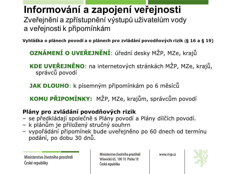Vyhláška o plánech povodí a o plánech pro zvládání povodňových rizik ( § 16 a § 19) OZNÁMENÍ O UVEŘEJNĚNÍ: úřední desky MŽP, MZe, krajů KDE UVEŘEJNĚNO