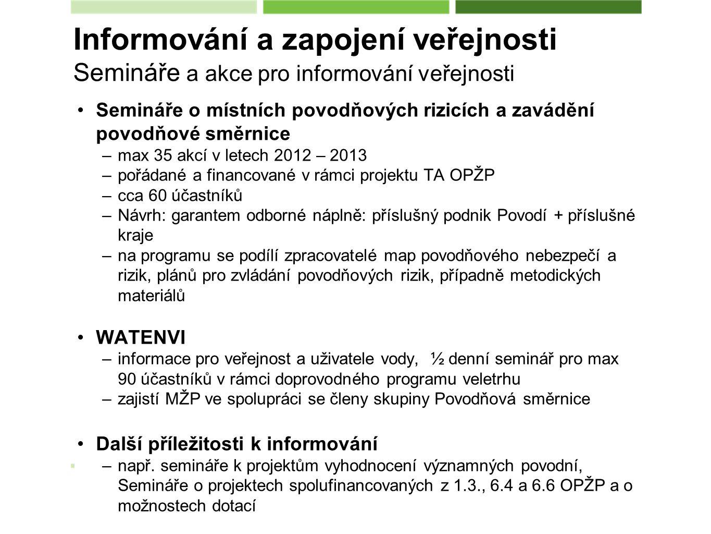 Semináře o místních povodňových rizicích a zavádění povodňové směrnice –max 35 akcí v letech 2012 – 2013 –pořádané a financované v rámci projektu TA OPŽP –cca 60 účastníků –Návrh: garantem odborné náplně: příslušný podnik Povodí + příslušné kraje –na programu se podílí zpracovatelé map povodňového nebezpečí a rizik, plánů pro zvládání povodňových rizik, případně metodických materiálů WATENVI –informace pro veřejnost a uživatele vody, ½ denní seminář pro max 90 účastníků v rámci doprovodného programu veletrhu –zajistí MŽP ve spolupráci se členy skupiny Povodňová směrnice Další příležitosti k informování –např.