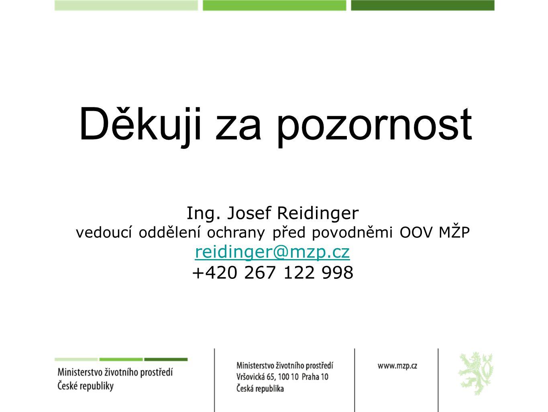 Děkuji za pozornost Ing. Josef Reidinger vedoucí oddělení ochrany před povodněmi OOV MŽP reidinger@mzp.cz +420 267 122 998