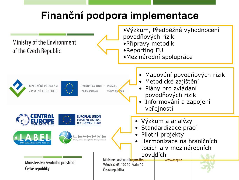 Finanční podpora implementace Výzkum, Předběžné vyhodnocení povodňových rizik Přípravy metodik Reporting EU Mezinárodní spolupráce Mapování povodňových rizik Metodické zajištění Plány pro zvládání povodňových rizik Informování a zapojení veřejnosti Výzkum a analýzy Standardizace prací Pilotní projekty Harmonizace na hraničních tocích a v mezinárodních povodích