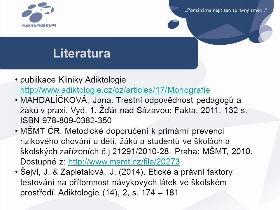 publikace Kliniky Adiktologie http://www.adiktologie.cz/cz/articles/17/Monografie http://www.adiktologie.cz/cz/articles/17/Monografie MAHDALÍČKOVÁ, Ja
