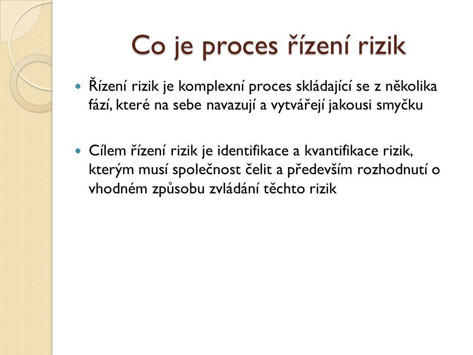 Co je proces řízení rizik Řízení rizik je komplexní proces skládající se z několika fází, které na sebe navazují a vytvářejí jakousi smyčku Cílem řízení rizik je identifikace a kvantifikace rizik, kterým musí společnost čelit a především rozhodnutí o vhodném způsobu zvládání těchto rizik