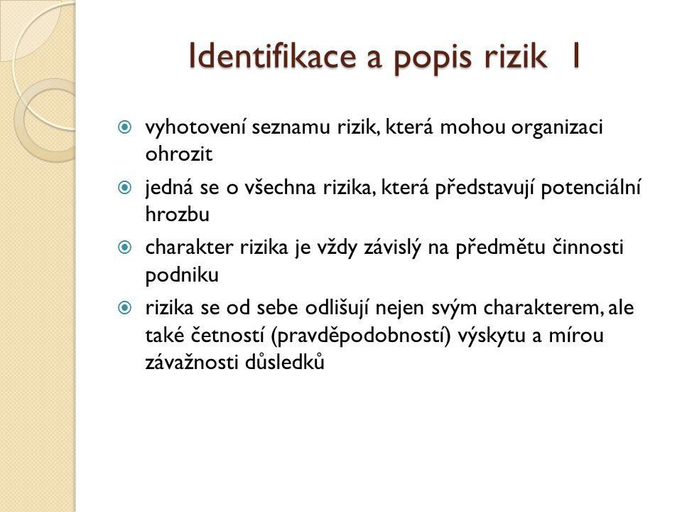 Identifikace a popis rizik 1  vyhotovení seznamu rizik, která mohou organizaci ohrozit  jedná se o všechna rizika, která představují potenciální hrozbu  charakter rizika je vždy závislý na předmětu činnosti podniku  rizika se od sebe odlišují nejen svým charakterem, ale také četností (pravděpodobností) výskytu a mírou závažnosti důsledků