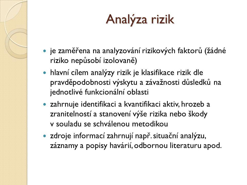 Analýza rizik je zaměřena na analyzování rizikových faktorů (žádné riziko nepůsobí izolovaně) hlavní cílem analýzy rizik je klasifikace rizik dle prav