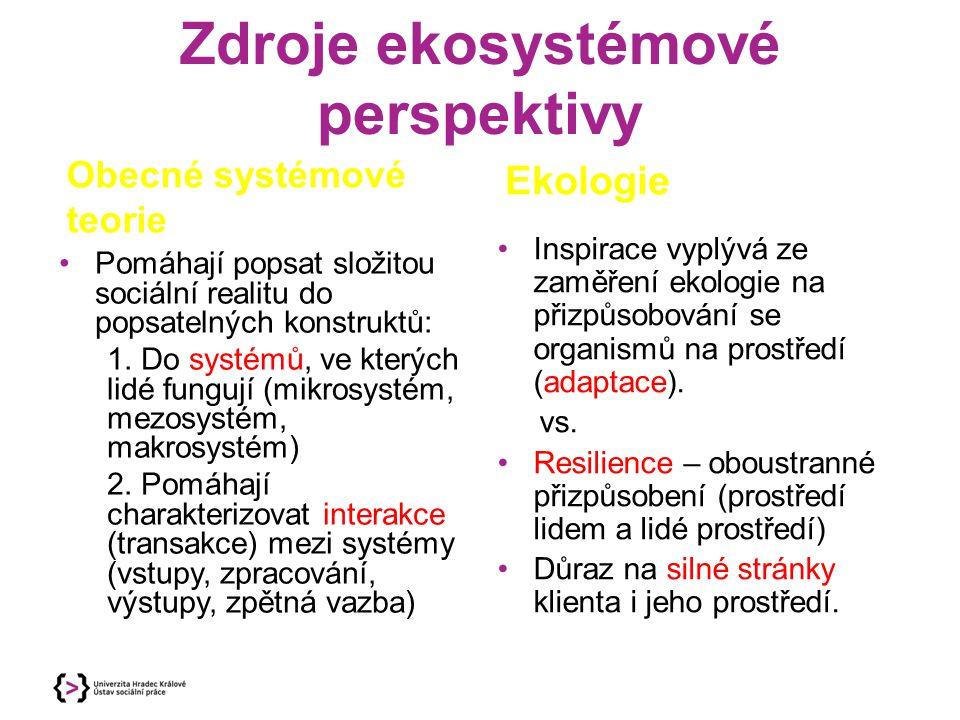 Zdroje ekosystémové perspektivy Obecné systémové teorie Pomáhají popsat složitou sociální realitu do popsatelných konstruktů: 1. Do systémů, ve kterýc