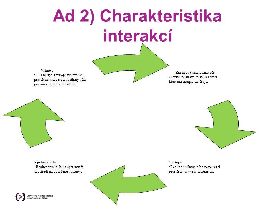 Ad 2) Charakteristika interakcí Zpracování informací či energie ze strany systému, vůči kterému energie směřuje. Výstupy: Reakce přijímajícího systému