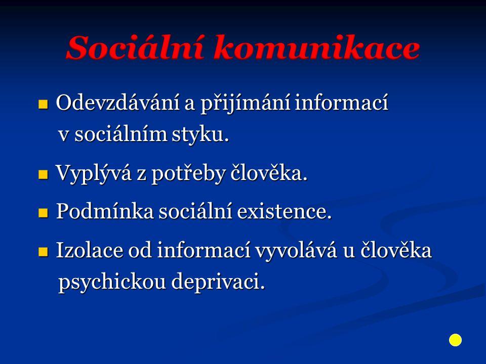 Odevzdávání a přijímání informací Odevzdávání a přijímání informací v sociálním styku.