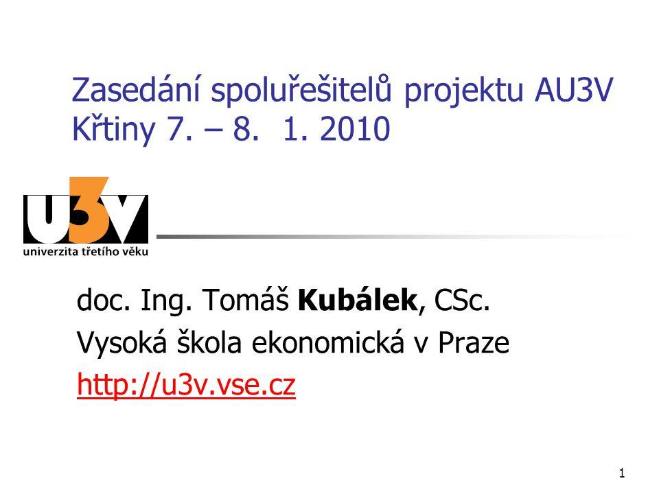 1 Zasedání spoluřešitelů projektu AU3V Křtiny 7. – 8. 1. 2010 doc. Ing. Tomáš Kubálek, CSc. Vysoká škola ekonomická v Praze http://u3v.vse.cz
