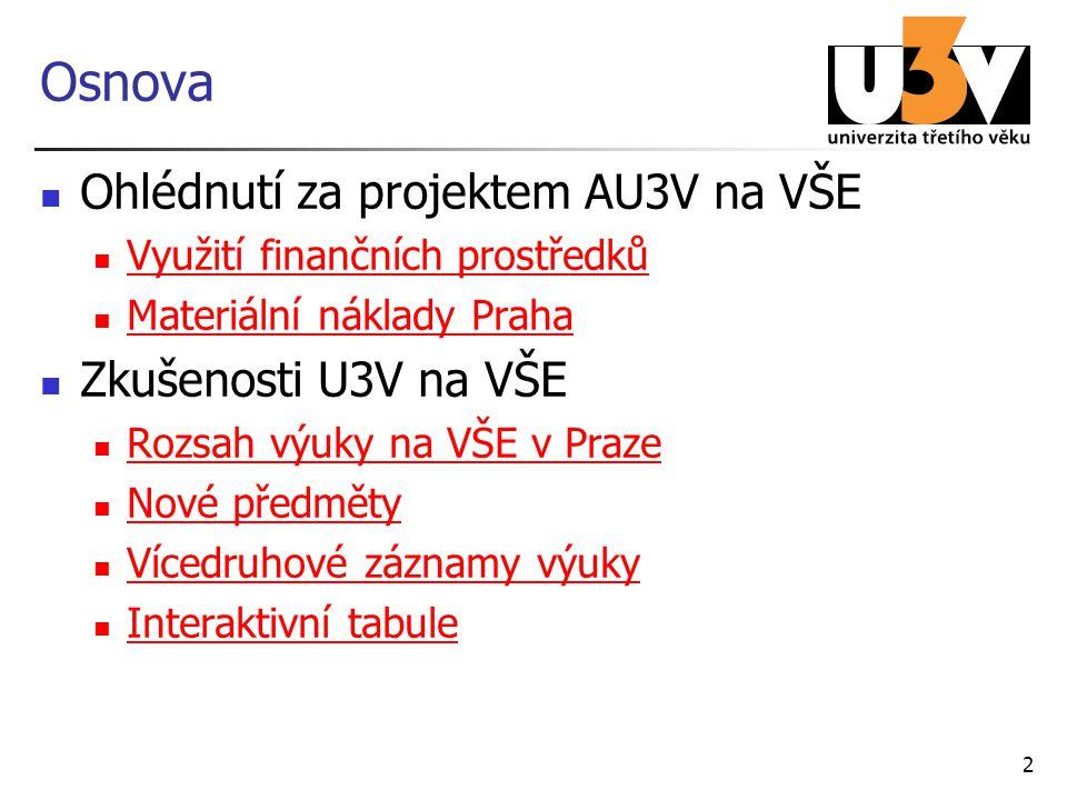 2 Osnova Ohlédnutí za projektem AU3V na VŠE Využití finančních prostředků Materiální náklady Praha Zkušenosti U3V na VŠE Rozsah výuky na VŠE v Praze N