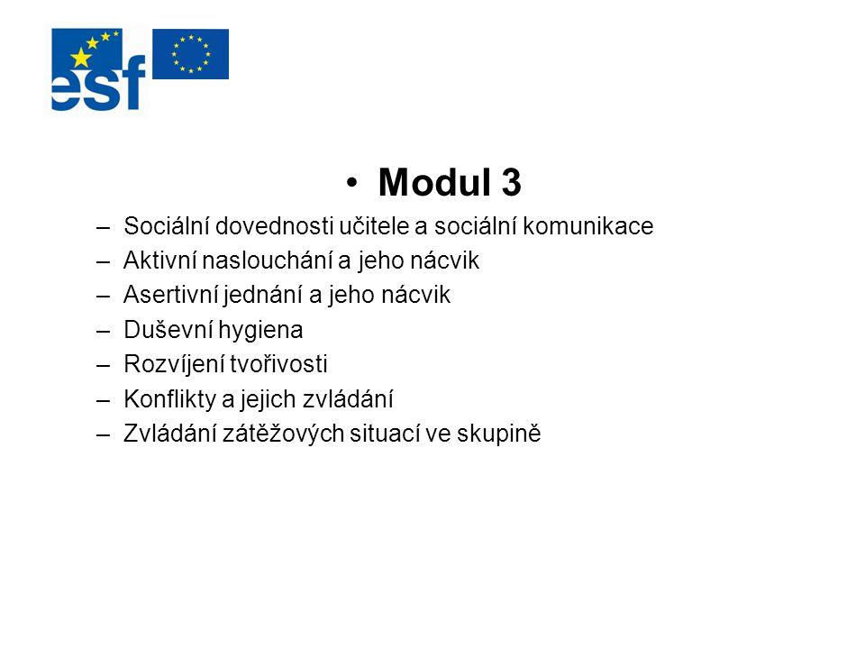 Modul 3 –Sociální dovednosti učitele a sociální komunikace –Aktivní naslouchání a jeho nácvik –Asertivní jednání a jeho nácvik –Duševní hygiena –Rozví