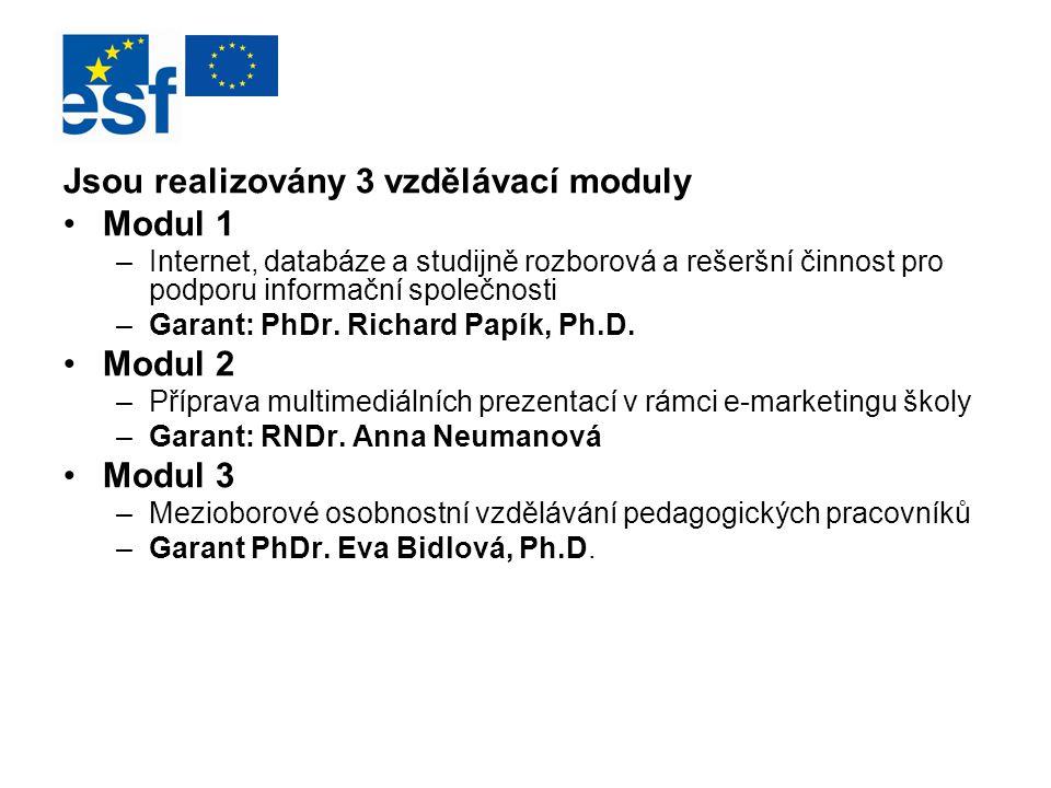 Jsou realizovány 3 vzdělávací moduly Modul 1 –Internet, databáze a studijně rozborová a rešeršní činnost pro podporu informační společnosti –Garant: P
