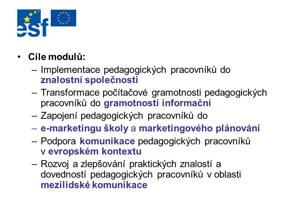 Cíle modulů: –Implementace pedagogických pracovníků do znalostní společnosti –Transformace počítačové gramotnosti pedagogických pracovníků do gramotno