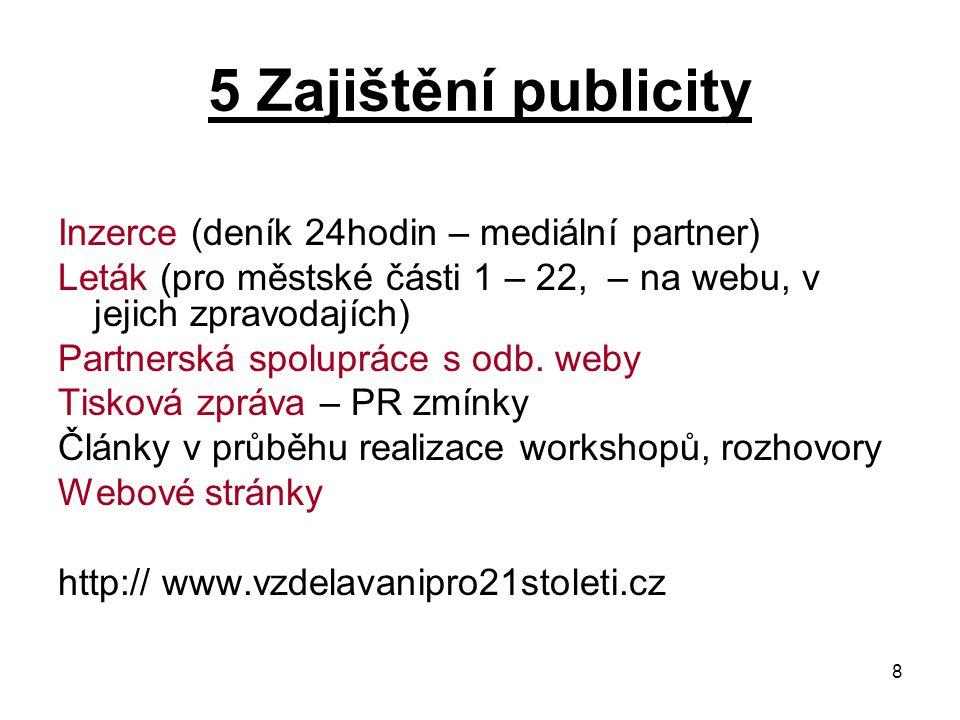 8 5 Zajištění publicity Inzerce (deník 24hodin – mediální partner) Leták (pro městské části 1 – 22, – na webu, v jejich zpravodajích) Partnerská spolupráce s odb.