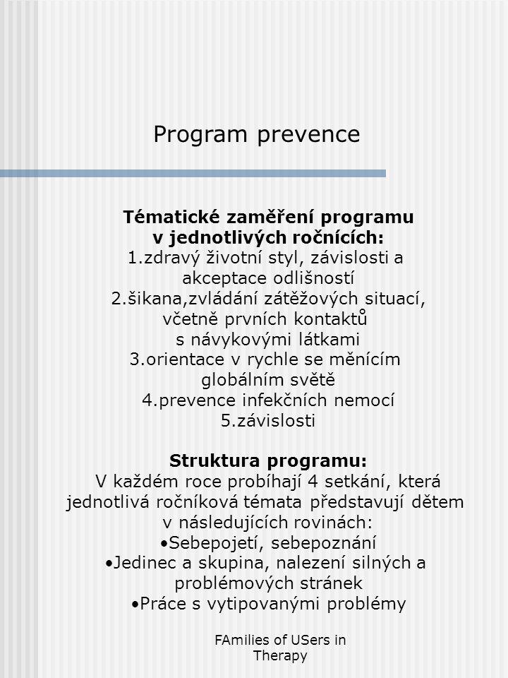 FAmilies of USers in Therapy Tématické zaměření programu v jednotlivých ročnících: 1.zdravý životní styl, závislosti a akceptace odlišností 2.šikana,zvládání zátěžových situací, včetně prvních kontaktů s návykovými látkami 3.orientace v rychle se měnícím globálním světě 4.prevence infekčních nemocí 5.závislosti Struktura programu: V každém roce probíhají 4 setkání, která jednotlivá ročníková témata představují dětem v následujících rovinách: Sebepojetí, sebepoznání Jedinec a skupina, nalezení silných a problémových stránek Práce s vytipovanými problémy Program prevence