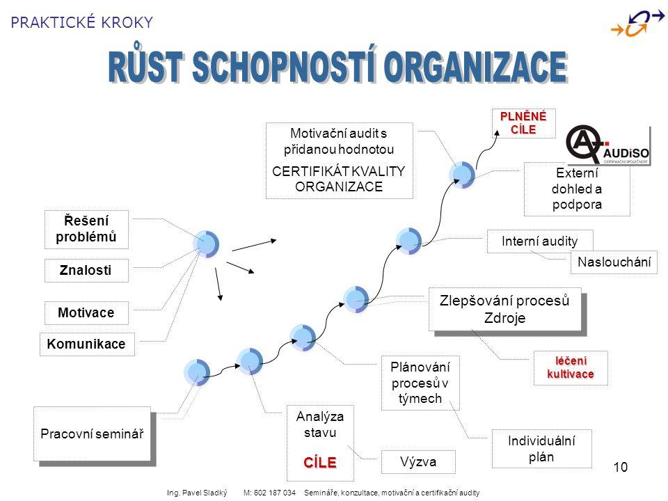 10 Pracovní seminář Analýza stavuCÍLE Zlepšování procesů Zdroje Zlepšování procesů Zdroje Plánování procesů v týmech Externí dohled a podpora Řešení p