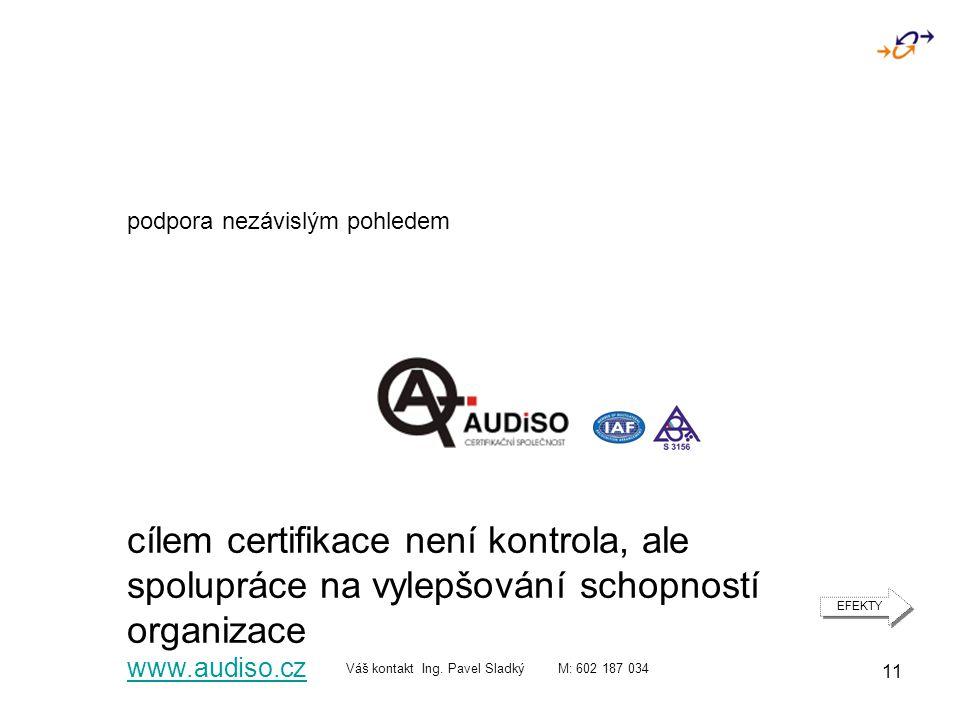 11 podpora nezávislým pohledem cílem certifikace není kontrola, ale spolupráce na vylepšování schopností organizace www.audiso.cz Váš kontakt Ing.