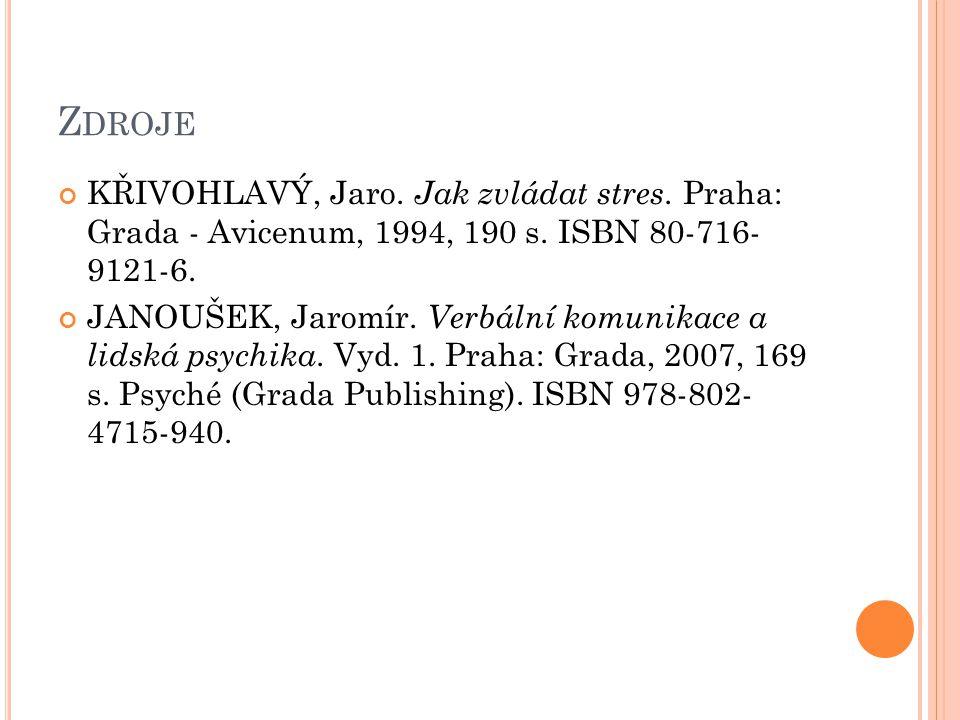 Z DROJE KŘIVOHLAVÝ, Jaro. Jak zvládat stres. Praha: Grada - Avicenum, 1994, 190 s.