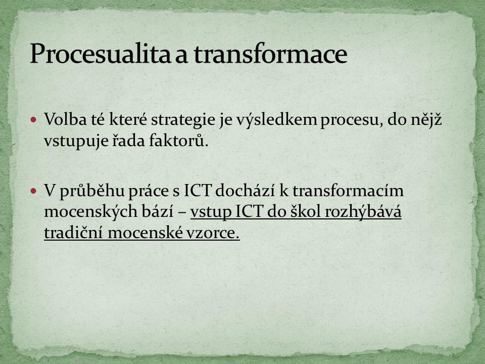 Volba té které strategie je výsledkem procesu, do nějž vstupuje řada faktorů. V průběhu práce s ICT dochází k transformacím mocenských bází – vstup IC