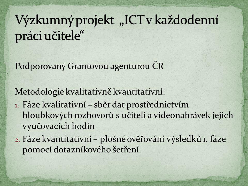 Podporovaný Grantovou agenturou ČR Metodologie kvalitativně kvantitativní: 1.