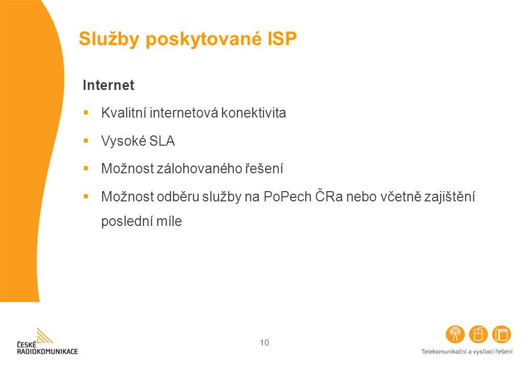 10 Služby poskytované ISP Internet  Kvalitní internetová konektivita  Vysoké SLA  Možnost zálohovaného řešení  Možnost odběru služby na PoPech ČRa nebo včetně zajištění poslední míle