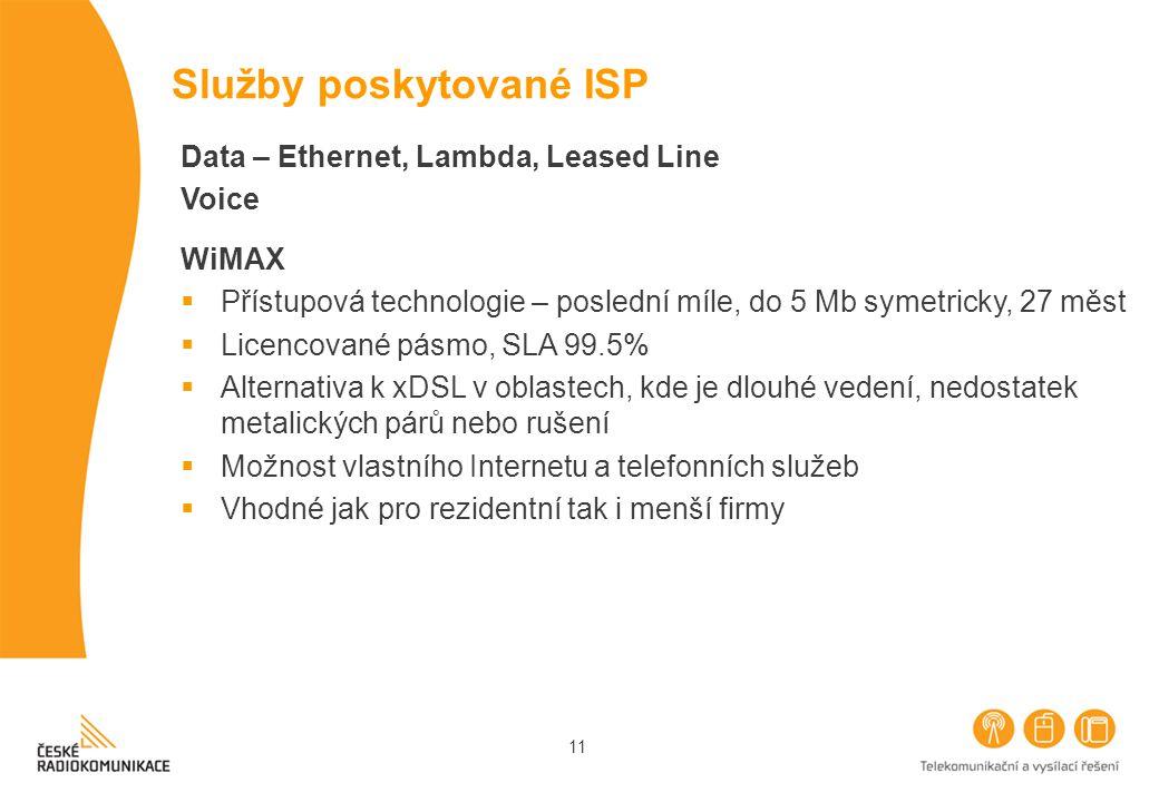 11 Služby poskytované ISP Data – Ethernet, Lambda, Leased Line Voice WiMAX  Přístupová technologie – poslední míle, do 5 Mb symetricky, 27 měst  Licencované pásmo, SLA 99.5%  Alternativa k xDSL v oblastech, kde je dlouhé vedení, nedostatek metalických párů nebo rušení  Možnost vlastního Internetu a telefonních služeb  Vhodné jak pro rezidentní tak i menší firmy