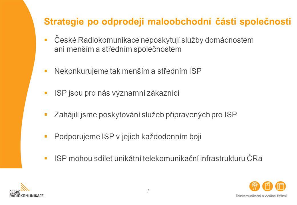 7 Strategie po odprodeji maloobchodní části společnosti  České Radiokomunikace neposkytují služby domácnostem ani menším a středním společnostem  Nekonkurujeme tak menším a středním ISP  ISP jsou pro nás významní zákazníci  Zahájili jsme poskytování služeb připravených pro ISP  Podporujeme ISP v jejich každodenním boji  ISP mohou sdílet unikátní telekomunikační infrastrukturu ČRa