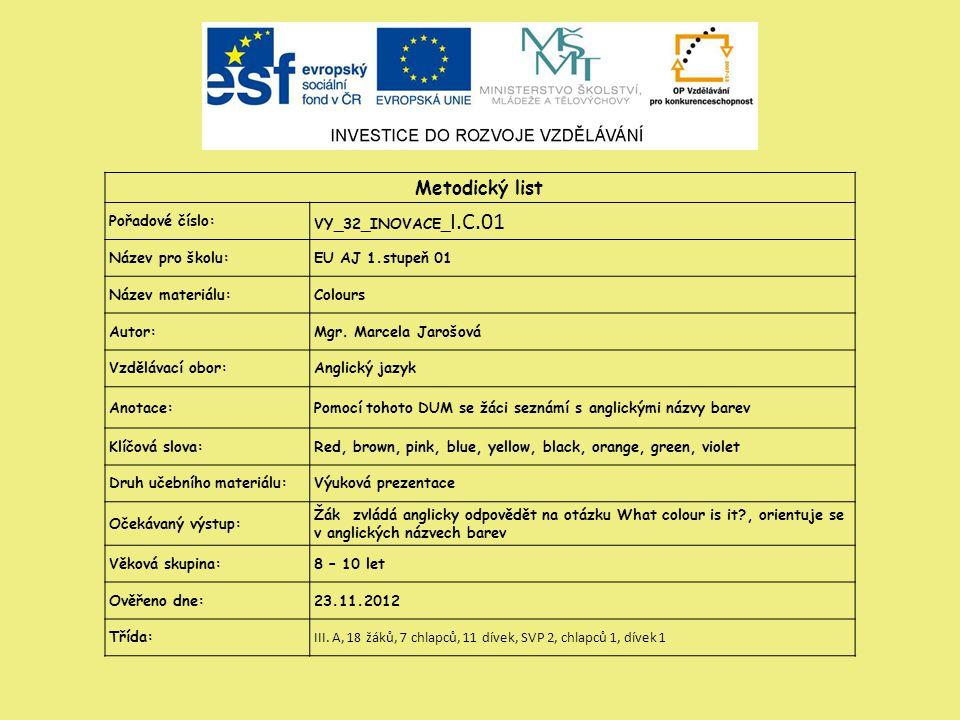 Metodický list Pořadové číslo: VY_32_INOVACE_ I.C.01 Název pro školu:EU AJ 1.stupeň 01 Název materiálu:Colours Autor:Mgr.