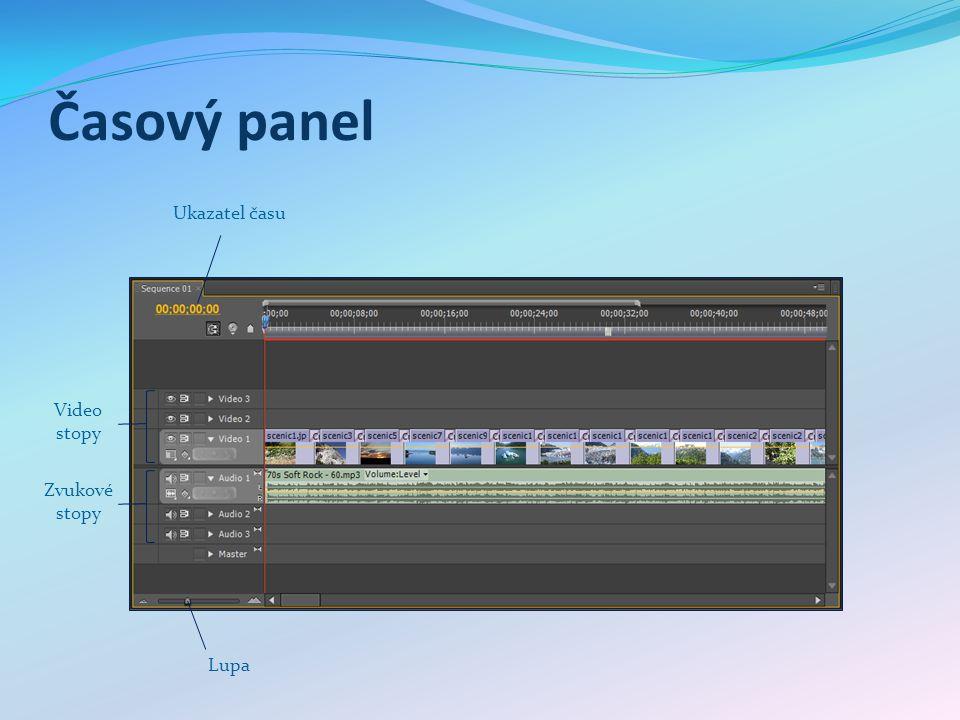 Časový panel Lupa Video stopy Ukazatel času Zvukové stopy