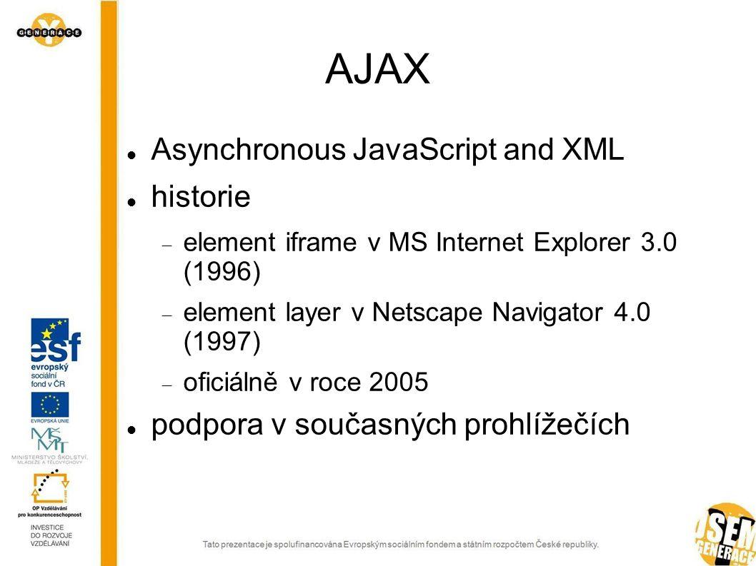 AJAX Asynchronous JavaScript and XML historie  element iframe v MS Internet Explorer 3.0 (1996)  element layer v Netscape Navigator 4.0 (1997)  oficiálně v roce 2005 podpora v současných prohlížečích