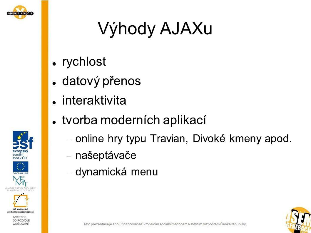 Výhody AJAXu rychlost datový přenos interaktivita tvorba moderních aplikací  online hry typu Travian, Divoké kmeny apod.