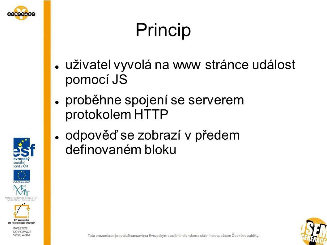 Princip uživatel vyvolá na www stránce událost pomocí JS proběhne spojení se serverem protokolem HTTP odpověď se zobrazí v předem definovaném bloku
