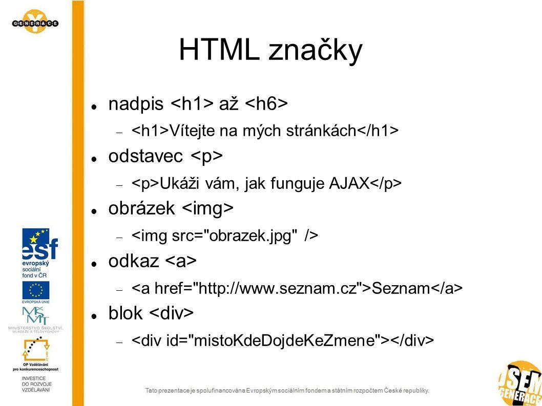 HTML značky nadpis až  Vítejte na mých stránkách odstavec  Ukáži vám, jak funguje AJAX obrázek  odkaz  Seznam blok 
