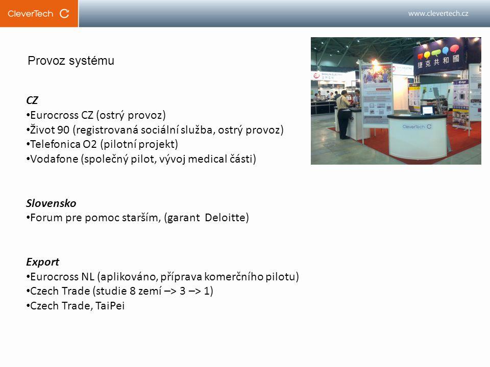 CZ Eurocross CZ (ostrý provoz) Život 90 (registrovaná sociální služba, ostrý provoz) Telefonica O2 (pilotní projekt) Vodafone (společný pilot, vývoj medical části) Slovensko Forum pre pomoc starším, (garant Deloitte) Export Eurocross NL (aplikováno, příprava komerčního pilotu) Czech Trade (studie 8 zemí –> 3 –> 1) Czech Trade, TaiPei Provoz systému