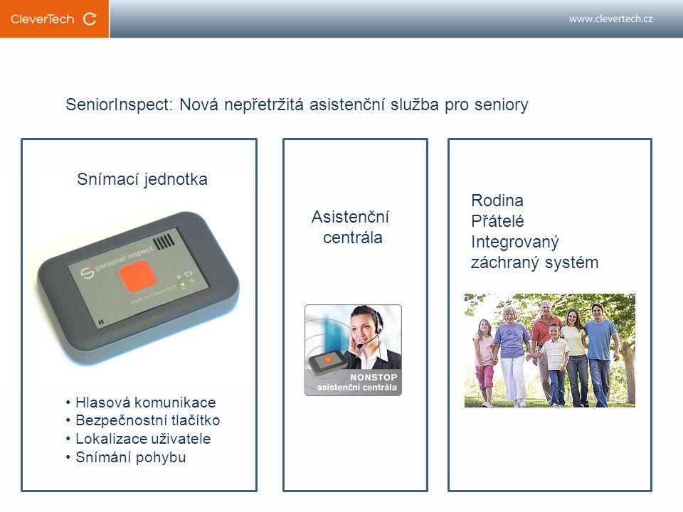SeniorInspect: Nová nepřetržitá asistenční služba pro seniory Snímací jednotka Asistenční centrála Rodina Přátelé Integrovaný záchraný systém Hlasová komunikace Bezpečnostní tlačítko Lokalizace uživatele Snímání pohybu