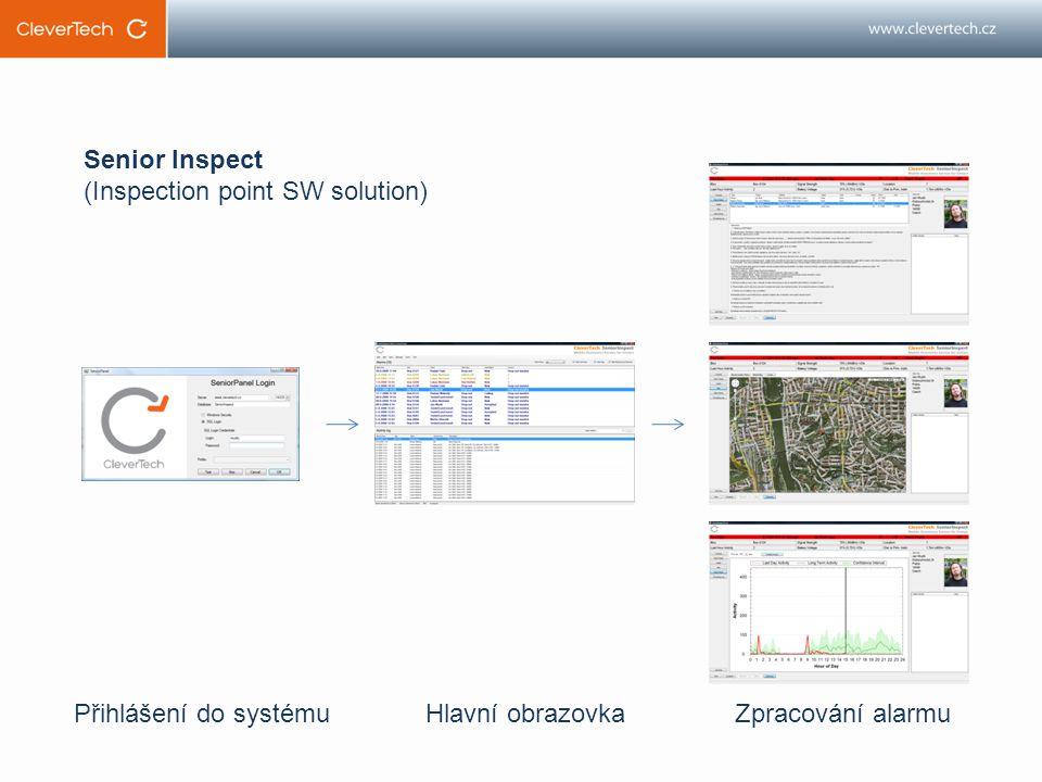 Přihlášení do systémuHlavní obrazovkaZpracování alarmu Senior Inspect (Inspection point SW solution)