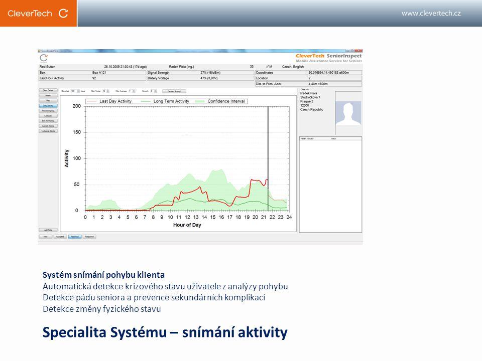 Systém snímání pohybu klienta Automatická detekce krizového stavu uživatele z analýzy pohybu Detekce pádu seniora a prevence sekundárních komplikací Detekce změny fyzického stavu Specialita Systému – snímání aktivity