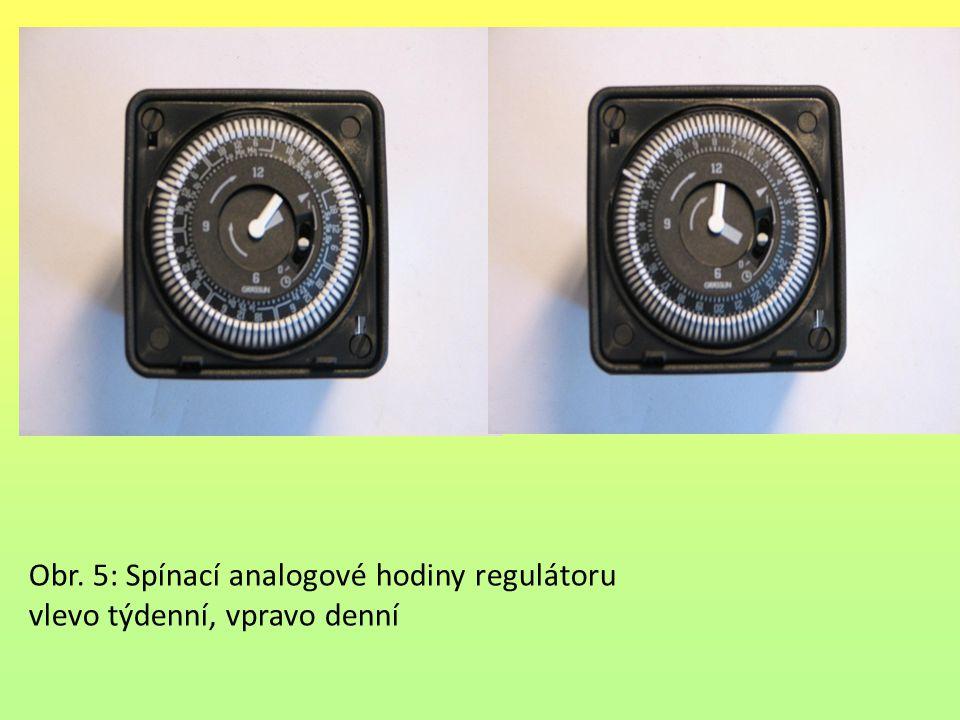 Obr. 5: Spínací analogové hodiny regulátoru vlevo týdenní, vpravo denní
