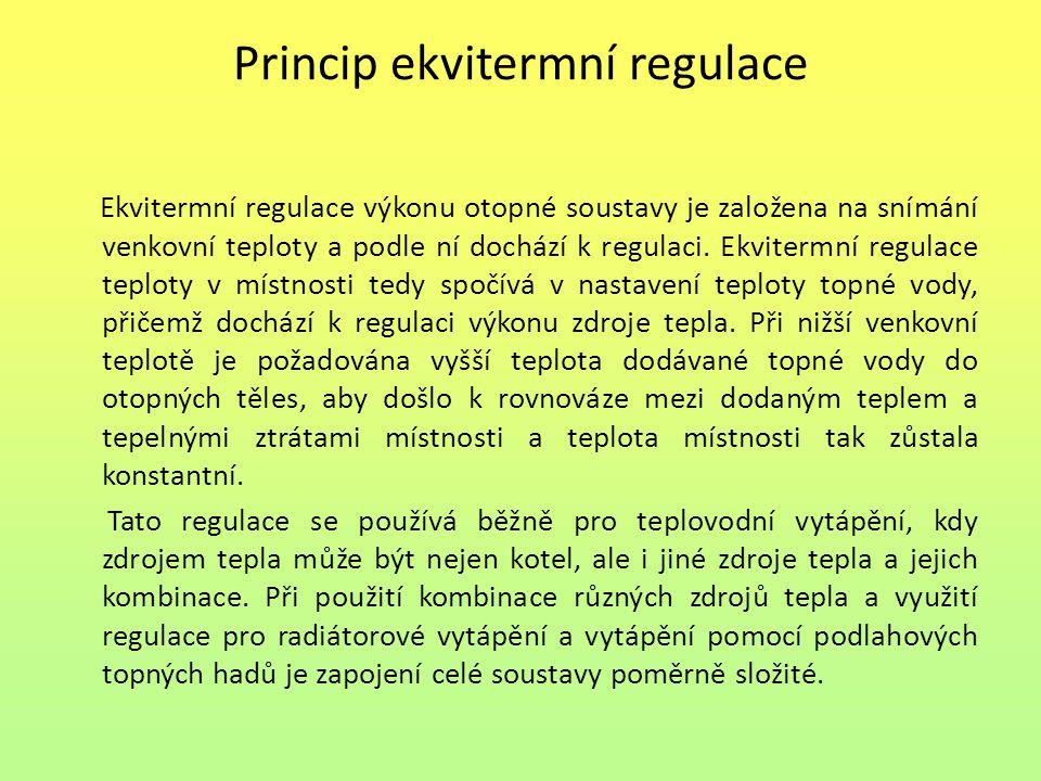 Princip ekvitermní regulace Ekvitermní regulace výkonu otopné soustavy je založena na snímání venkovní teploty a podle ní dochází k regulaci.
